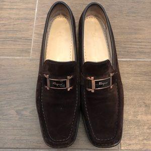 Brown Suede Ferragamo Sport Loafer- Narrow